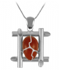 Natural Gemstone Carnelian Stone Square Shaped Necklace